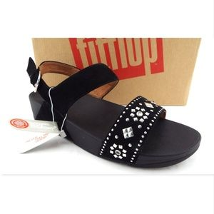 Fitflop Shoes - NIB FITFLOP Black Suede Stud Back Strap Sandals 9
